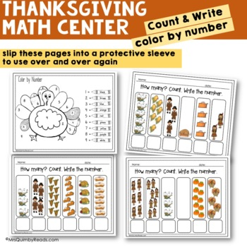 Thanksgiving Math Center - Spin and Write Your Numbers - Counting