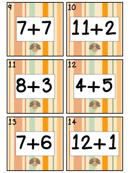 Thanksgiving Math Center: Sums to 20