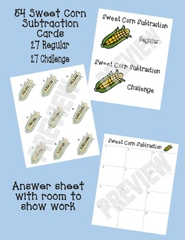 Thanksgiving Math Center: Sweet Corn Subtraction