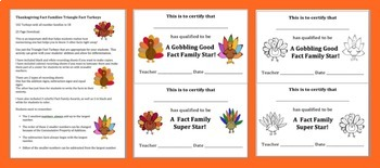 Thanksgiving Turkey 102 Fact Families - Differentiate Your Thanksgiving Math