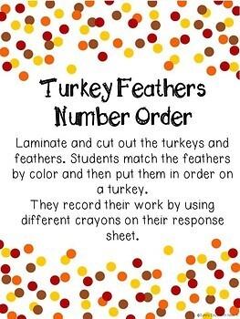 Thanksgiving Math Center - Turkey Feather Number Order