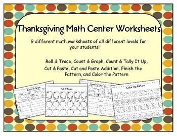 Thanksgiving Math Center Worksheets