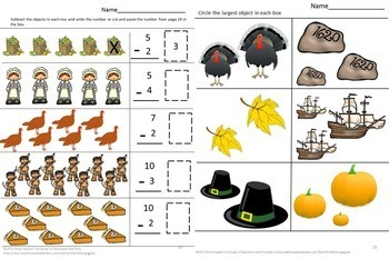 Thanksgiving Math Worksheets Kindergarten Addition Subtraction Special Education