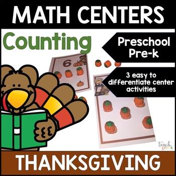 Thanksgiving Math Centers: 1-1 Correspondence for Preschool, PreK, & K!