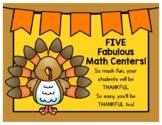 FIVE Turkey-rific Thanksgiving Math Centers you'll be THAN