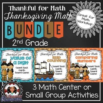 Thanksgiving Math Centers 2nd Grade