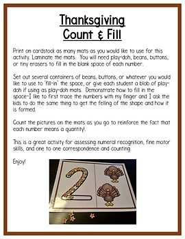 Thanksgiving Math Centers: 3 Levels of Numeral Formation & Writing for PreK &K