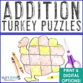 ADDITION Turkey Puzzles | Thanksgiving Math Centers, Stations, or Games