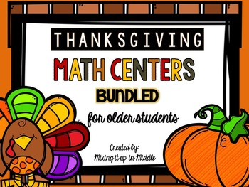 Thanksgiving Math Centers BUNDLED:  WORD PROBLEMS TASK CARD BUNDLE