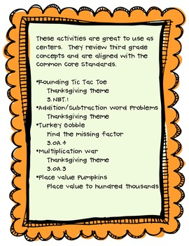 Thanksgiving Math Centers (Common Core Aligned)