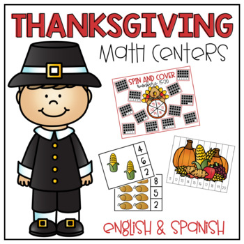 Thanksgiving Math Centers- English and Spanish