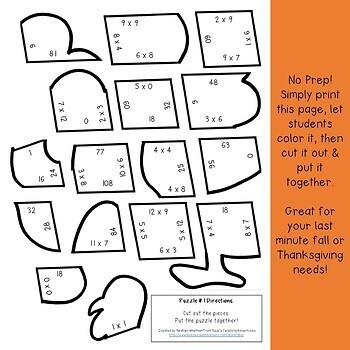 MULTIPLICATION Turkey Math Centers | Thanksgiving Activities or Games