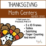 Thanksgiving Math :Differentiated Number Sense centers for Preschool, PreK & K