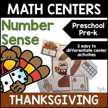 Thanksgiving Math :Differentiated Number Sense centers for Preschool, PreK & K