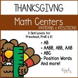 Thanksgiving Math: Differentiated Patterns & Positions  for Preschool, PreK, & K