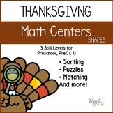 Thanksgiving Math Centers: Shapes for Preschool, PreK, K & Homeschool