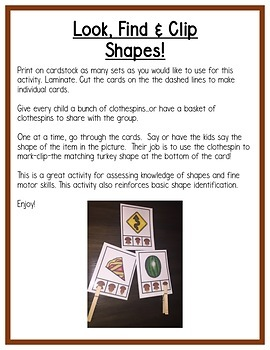 Thanksgiving Math : Differentiated Shapes Centers for Preschool, PreK & K