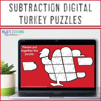 SUBTRACTION Turkey Puzzles | Thanksgiving Activities for Math Center FUN