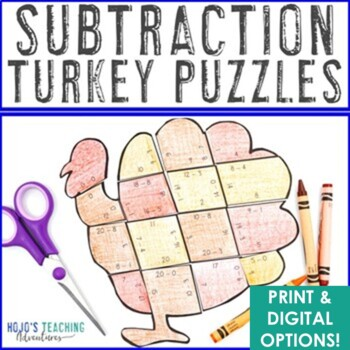 Thanksgiving Math Centers: Subtraction Turkey Puzzles