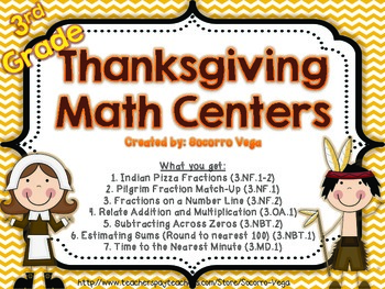 Thanksgiving Math Centers! Third Grade.. Common Core