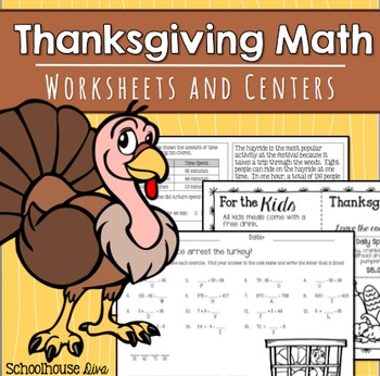 Thanksgiving Math Worksheets and Centers