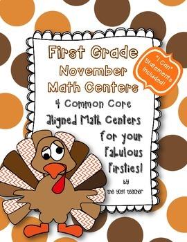 Thanksgiving Math Centers for First Grade, Common Core Aligned