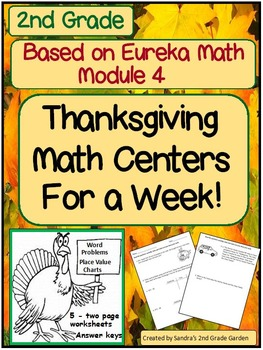 Grade 2 Thanksgiving Math Centers for a Week! Based on Eur