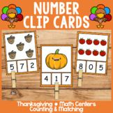 Thanksgiving Math Centers | Clip Cards | Numbers 0-10