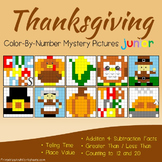 Math Thanksgiving Activities, Thanksgiving Sub Plan Mystery Picture Worksheets