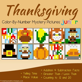 Thanksgiving Math Color-By-Number Bundle (K-2)