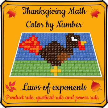 Thanksgiving Math Color By Number- Exponent Rules / Laws of Exponents