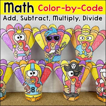 Thanksgiving Math Color by Number: Addition, Subtraction, Multiplication
