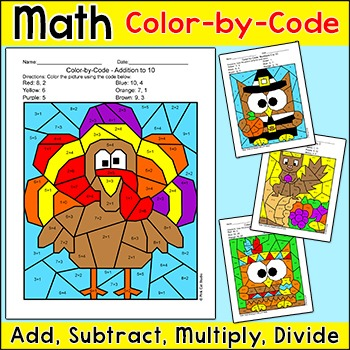 Thanksgiving Math Centers Bundle: Turkey, Pilgrim, Cornucopia, Native American