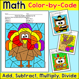 Thanksgiving Math Centers Bundle: Turkey, Pilgrim, Cornuco