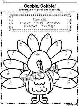 Thanksgiving Math Color By Number Addition Subtraction 1st Grade