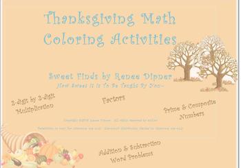 Thanksgiving Math Coloring Activities: 4th Grade