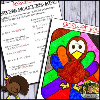 Thanksgiving Math! Coloring Activity
