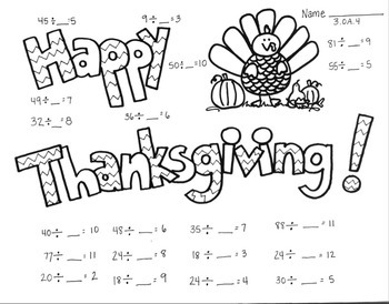 Thanksgiving Math Coloring Printable 3.OA.4 Unknown in Div