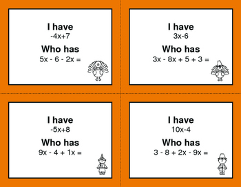 Thanksgiving Math: Combining Like Terms - I Have, Who Has