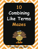 Thanksgiving Math: Combining Like Terms Maze