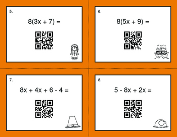 Thanksgiving Math: Combining Like Terms QR Code Task Cards