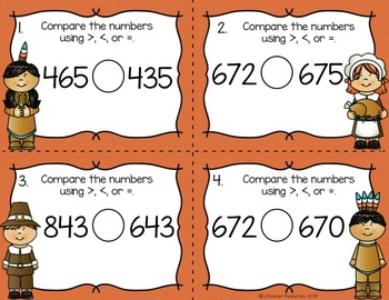 Thanksgiving Math Game Comparing 3-Digit Numbers
