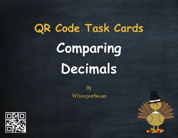 Thanksgiving Math: Comparing Decimals QR Code Task Cards