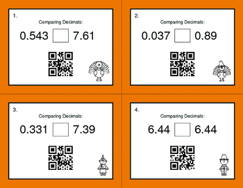Thanksgiving Math: Comparing Decimals QR Code Task Cards