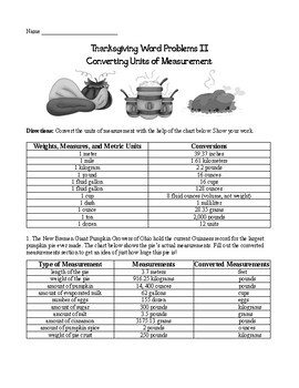 Thanksgiving Math Word Problems II: Converting Common Units of Measurement