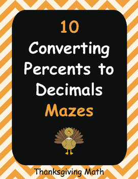 Thanksgiving Math: Converting Percents to Decimals Maze