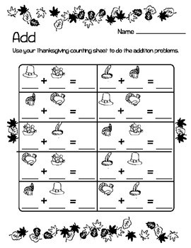 Thanksgiving Math: Count / Add / Graph