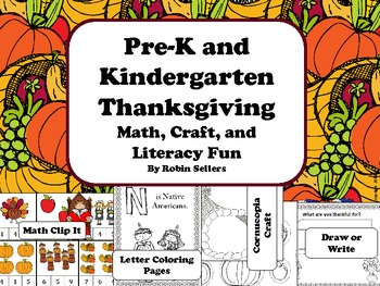 Thanksgiving: Math, Craft, and Literacy Fun Centers for Pre-K and Kindergarten