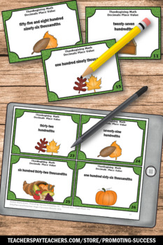 Thanksgiving Math Centers, 5th Grade Decimals Task Cards, Place Value SCOOT