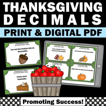 Thanksgiving Math Task Cards Decimals Games 5th 6th Grade